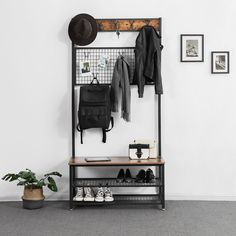 VASAGLE Industrial Coat Stand, Shoe Rack Bench with Grid Memo Board, 9 Hooks and Storage Shelves, Hall Tree with Stable Metal Frame, Rustic Brown Wood Storage Bench, Entryway Storage, Entryway Decor, Shoe Storage, Entryway Ideas, Storage Shelves, Entryway Hall Tree, Rustic Hall Trees, Coat And Shoe Rack