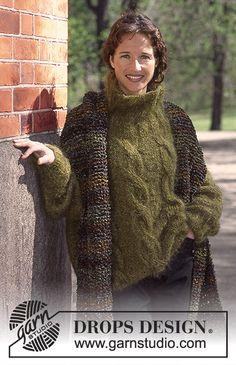 Gebreide DROPS Trui met kabels van Vienna of Melody en sjaal van Leopard of Eskimo. Drops Design, Sweater Shirt, Pullover Sweaters, Fair Isle Knitting Patterns, Crochet Patterns, Knitted Poncho, Pulls, Free Knitting, Womens Scarves