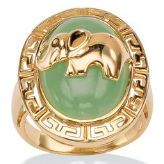 "Oval-Shaped Genuine Jade 18k Yellow Gold Over Sterling Silver ""Good Luck"" Elephant ""Greek Key"" Ring"