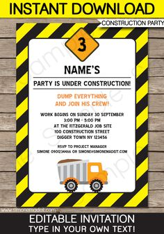 Construction Party Invitations | Dump Truck | Birthday Party | Editable DIY Theme Template | INSTANT DOWNLOAD $7.50 via SIMONEmadeit.com