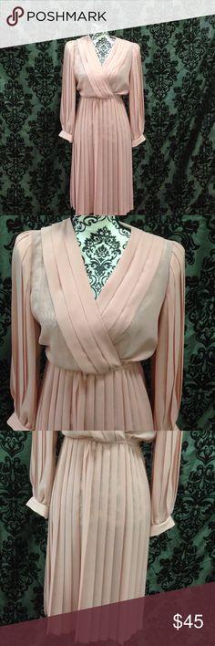 Rose Pleated Ladylike Knee Length Dress Size 6. Pleated arms, skirt and bodice. V cut. Ladylike knee length. Elastic waist no flaws. Lightweight. Free gift. Boho Dresses Midi