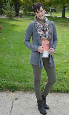 floral scarf, grey cardigan, neutral pants, floral top outfit idea