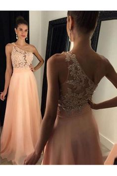 Prom Dress Beautiful, A-Line One-Shoulder Floor-Length Peach Chiffon Prom Dress with Appliques, Discover your dream prom dress. Our collection features affordable prom dresses, chiffon prom gowns, sexy formal gowns and more. Find your 2020 prom dress Peach Prom Dresses, Pink Party Dresses, Junior Bridesmaid Dresses, Party Gowns, Sexy Dresses, Girls Dresses, Dress Prom, Dresses 2016, Gown Dress