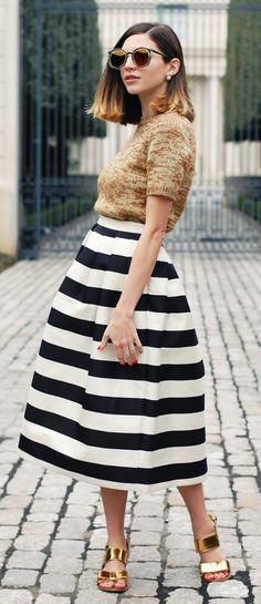 Gold And Stripes Outfit Idea