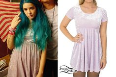 "Halsey was photographed backstage at her American Youth Tour show in Los Angeles a few days ago wearing an American Apparel Stretch Velvet Babydoll Dress ($60.00) in ""Crushed Marshmallow."" Read full story »"
