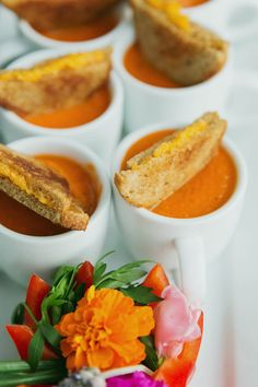 mini grilled cheese + tomato soup | Our Labor of Love #wedding