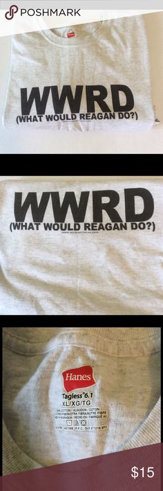 What Would Reagan Do? XL 100% cotton Hanes tee with slogan WWRD (what would Reagan do?) on front and back. Bring some levity to those heated political discussions this holiday season with this puppy. Hanes Shirts Tees - Short Sleeve