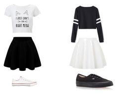 """""""black and white"""" by alexis-storm ❤ liked on Polyvore featuring Topshop, Vans and Converse"""
