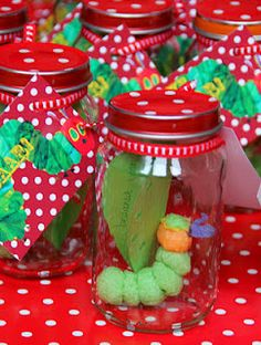 Love these jars - could easily modify to hold favors for ladybug theme baby shower.