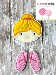 Oversized Ballerina Feltie with Ballet Slipper Danglers | What's New | Machine Embroidery Designs | SWAKembroidery.com A Creative Medley