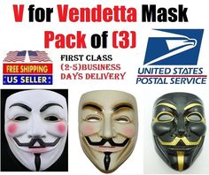 V FOR VENDETTA OFFICIAL  GUY FAWKES OCCUPY ANONYMOUS COSTUME MASK (pack of 3) #Rubies