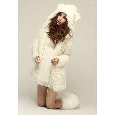 Sweet Bear Ears Hooded Long Sleeve Women's Long Plush Coat, AS THE PICTURE, ONE SIZE in Jackets & Coats   DressLily.com