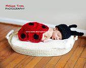 Crochet Baby Hat, Ladybug Set, Red & Black, Newborn Photography Prop