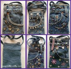 Denim Cross Body Bags are contemporary cool with a top zip closure. Carry your essentials like cell phone, lipstick, cash and keys, and be handsfree! Artisanats Denim, Denim Purse, Jean Crafts, Denim Crafts, Pocket Craft, Jean Purses, Denim Ideas, Recycle Jeans, Recycled Denim