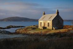 Lonely bothy by the sea - Uags, overlooking the Crowlin islands and Skye. This is one of many bothies maintained by volunteers from the Mountain Bothy Association