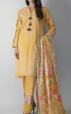 Pakistani Dresses Online Shopping, Suits Online Shopping, Famous Clothing Brands, Pakistani Lawn Suits, Pakistani Designers, Clothes For Sale, Fashion Dresses, Indian, Yellow