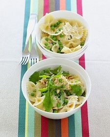 Peppery arugula and toasted pine nuts add grown-up flavors to a kid-friendly pasta dish. The bowties (farfalle) are always popular with kids, but you could use other short pasta shapes in this recipe, such as fusilli, orecchiette, or penne.