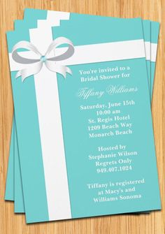 Diamonds Pearls Tiffany Blue Bridal Shower Invitation RaiNdrOps