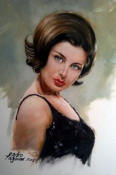 Trabalho finalizado ,  Retrato da Madalena Iglésias , óleo sobre tela .