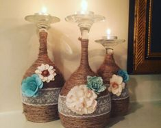 Wine glass candle holders by Beartsandcrafts on Etsy