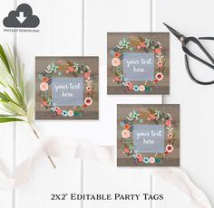 editable party tags editable party favors instant download