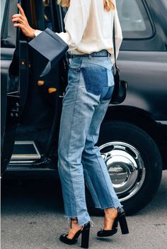 Le Fashion Blog Pernille Teisbaek Street Style White Blouse Vetement Raw Hem Jeans