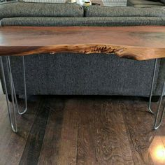 Items similar to Live edge walnut console table with hairpin legs. on Etsy Live Edge Console Table, Hairpin Legs, Hair Pins, Unique Jewelry, Handmade Gifts, Etsy, Vintage, Hair Rods, Kid Craft Gifts