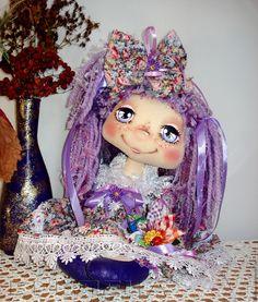 Купить Текстильная интерьерная кукла Цветик-Семицветик Анютка. - сиреневый, интерьерная кукла, красивая кукла