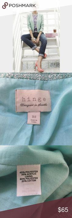 Hinge Blue Green Boucle Tweed Jacket Size XS Stunning Robbins egg blue green boucle Tweed jacket by Hinge. Size XS. EUC. Hinge Jackets & Coats Blazers