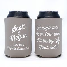 High Tide or Low Tide, I'll Be By Your Side // Tropical Destination Wedding // Personalized Wedding Can Coolers Party Favors