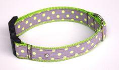 Hund: Halsbänder - Hundehalsband Lime Grau NeonPunkte mit Straß Glitz - ein Designerstück von stitchbully bei DaWanda