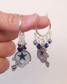 Dallas Cowboys Earrings, Cowboys Jewelry, Navy and Silver Crystal Earrings, Pro Football Cowboys Bling Accessory Fanwear by scbeachbling on Etsy