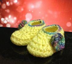 Yellow Crochet Baby Booties Baby Girl by CreacionesIsabelita