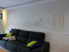 decoracion de pared con ciudad de madrid skyline dibujo lineal