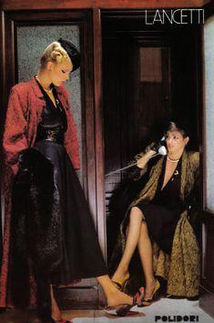 Year : 1978 (1970s) Brand : Lancetti Source : Italian Harper's Bazaar, SusanSuperstar scan  Photographer :  Model : Gia Carangi, Juli Foster