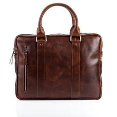 """STOKED Aktentasche NATHAN - Umhängetasche groß fit für 15"""" laptop, iPad - Ledertasche mit Schultergurt echt Leder hellbraun-cognac"""