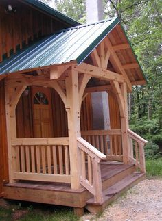 """"" Timber frame porch, deck & entrance projects built by MoreSun """" Covered front entry protects front door and you from the weather! Porch Kits, Porch Ideas, Porch Roof, Roof Balcony, Building A Porch, Building Homes, Marquise, House With Porch, Front Entrances"