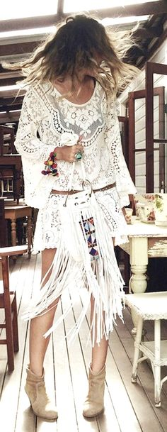 Boho + aristocratic lace trend: White tablecloth lace tunic with classic folky bohemian accessories.