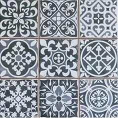 Kitchen Backsplash - Merola Tile Faenza Azul 13 in. x 13 in. Ceramic Floor and Wall Tile sq. / case)-FPEFAEA - The Home Depot B&w Wallpaper, Kitchen Wallpaper, Tuile, Deco Design, Tile Design, Wall Patterns, Stone Tiles, Black Decor, Kitchen Backsplash