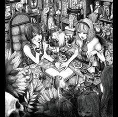 adapted_costume alice_margatroid bare_shoulders book bookshelf bottle cake chair chin_rest cup doll doll_joints flower food hairband hane_(azelye) kazami_yuuka letterboxed monochrome multiple_girls room sewing_machine shanghai_doll short_hair sitting skull sleeveless sunflower symmetry table teacup teapot touhou youkai