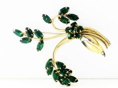 Vintage Emerald Green Rhinestone Floral by delightfullyvintage