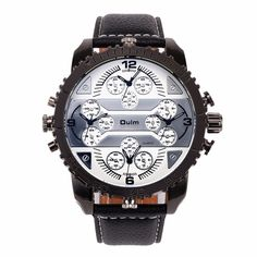 Only US$18.99 , shop Oulm HP3233 Men Military Watch Multiple Time Display Big Dial Leather Strap Quartz Watches at Banggood.com. Buy fashion Men Watch online.