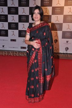 Black red saree