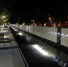 Landscape Ideas Park Water Features 59 Ideas For 2019 Desert Landscaping Backyard, Above Ground Pool Landscaping, Modern Landscaping, Urban Landscape, Landscape Design, Water Architecture, Fountain Lights, Waterfall Fountain, Water Element