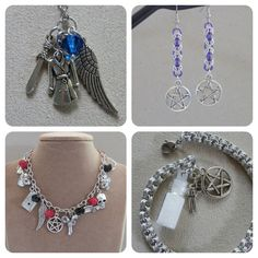 #Supernatural themed jewellery in my etsy store - http://OutOfTheDarkDesigns.etsy.com #handmade #jewellery #jewelry #chainmaille #necklace #bracelet #earrings #beads #pentagram #angel #SamWinchester #DeanWinchester #Castiel