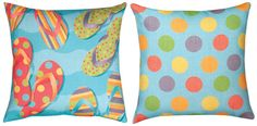 Climaweave Tropical Flip Flops Reversible Pillow
