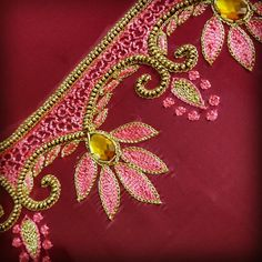 Discover thousands of images about Thread work Cutwork Blouse Designs, Kids Blouse Designs, Hand Work Blouse Design, Simple Blouse Designs, Embroidery Neck Designs, Hand Work Embroidery, Bridal Blouse Designs, Hand Designs, Embroidery Patterns