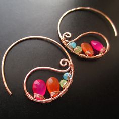 Unique Kreations - Kapow Neon Earrings - Handcrafted Wire Wrapped Earrings