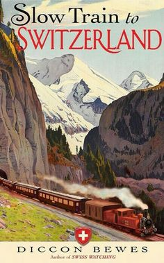 Pyramid America Ghostbusters Who Ya Gonna Call Supernatural Comedy Film Movie No Ghosts Poster inch Vintage Slow Train Swiss Switzerland Travel Poster Giclee Art Print Poster Vintage, Vintage Travel Posters, Vintage Ads, Vintage Pink, Train Posters, Railway Posters, Travel Ads, Train Travel, Train Trip