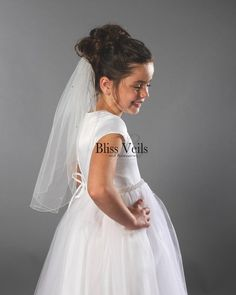 Communion Veil with Crystals and Pearls - Several Lengths & Colors! First Communion Veils, First Communion Party, Wedding Looks, Wedding Day, Wedding Veils, Wedding Dresses, Thing 1, Wedding Attire, Rustic Wedding